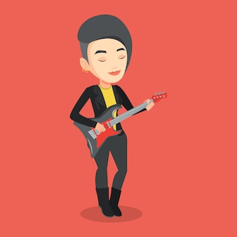エレクトリックギターのイラストを演奏する女性。