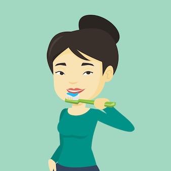 女性は彼女の歯を磨くベクトルイラスト。