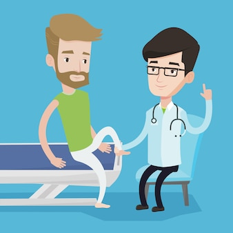 ジムの医師が患者の足首をチェックします。