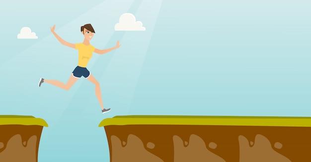 Молодая кавказская спортсменка прыгает через скалы