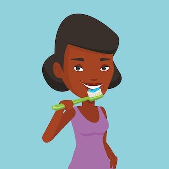 女性は彼女の歯のイラストを磨きます。