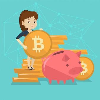 貯金箱にビットコインコインを入れて女性。