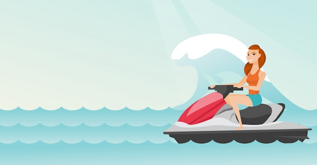 海で水スクーターに乗って白人女性