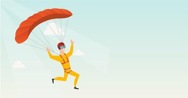 Молодой кавказский парашютист летать с парашютом