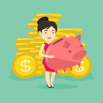 大きな貯金を保持しているビジネス女性。