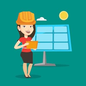太陽光発電所の女性労働者。