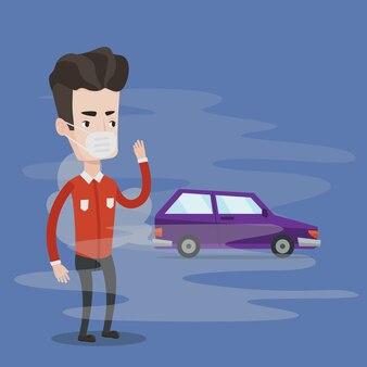 Загрязнение воздуха от выхлопных газов автомобиля.