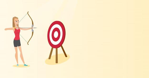 Спортсменка, направленная с луком и стрелами на цель.