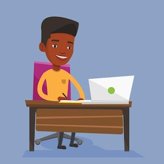 Студент, используя ноутбук для образования.