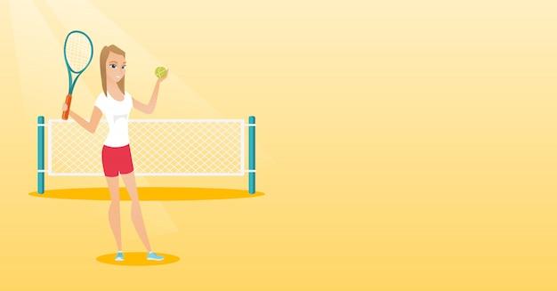 Молодой кавказский теннисист.