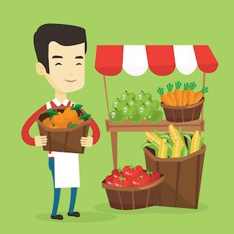 Зеленщик с фруктами и овощами.