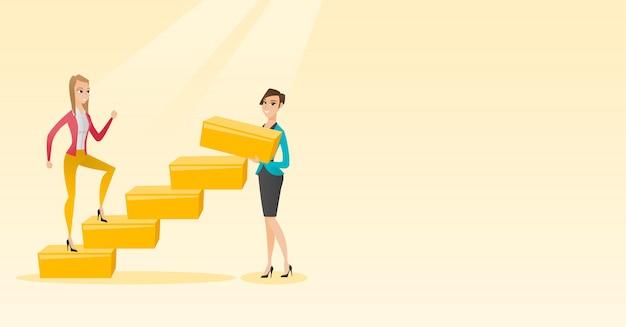 ビジネスの女性は、キャリアのはしごを駆け上がります。
