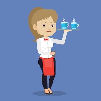 Официантка держит поднос с чашками кофе или чая.