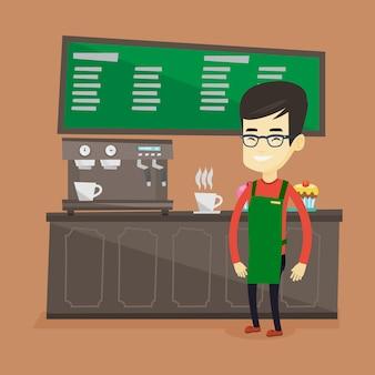 Бариста стоит возле кофемашины.