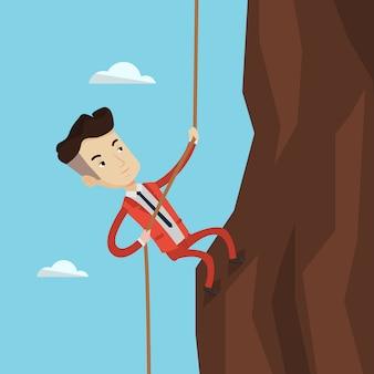 山に登る実業家。
