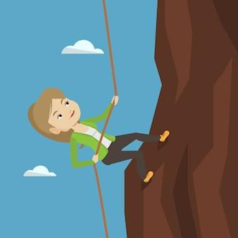 ビジネスの女性が山に登る。