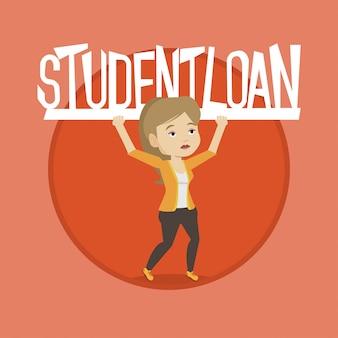 Женщина, держащая знак студенческого кредита.