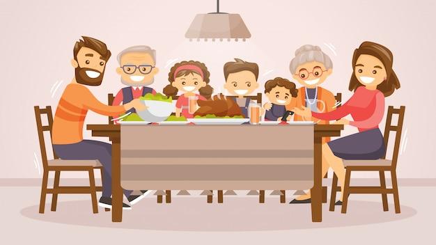 Семья празднует день благодарения карты.