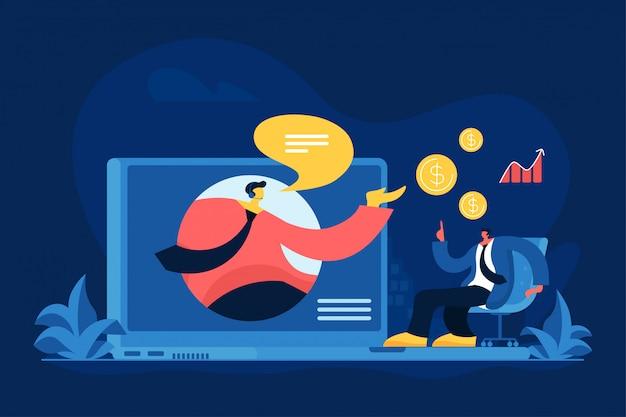 Онлайн финансовый консалтинг плоский векторная иллюстрация
