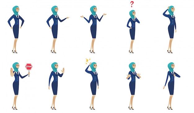 Набор молодых мусульманских стюардесс