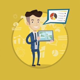 タブレットコンピューターに関するレポートを提示する実業家。