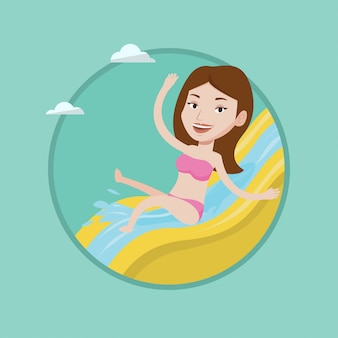 Женщина езда вниз водной горкой векторные иллюстрации.