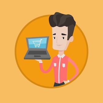 オンラインショッピングのベクトル図の男。