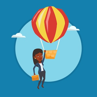 Бизнес женщина висит на воздушном шаре.