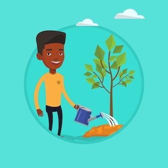 男は木ベクトル図に水をまきます。