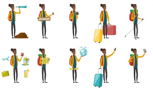 若いアフリカの旅行者セット