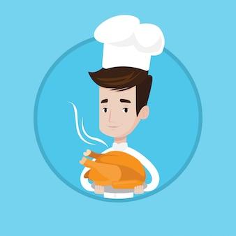 Шеф-повар держит жареную курицу.