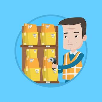ボックスのバーコードをスキャンする倉庫作業員。