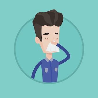 くしゃみをする若い白人の病気の人。