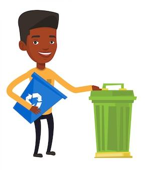 Человек с мусорной корзиной и мусорной корзиной.