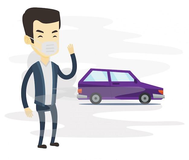 車の排気ガスによる大気汚染。