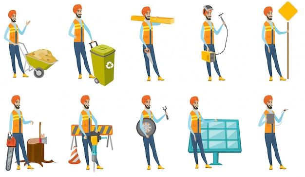 Набор индийских строителей