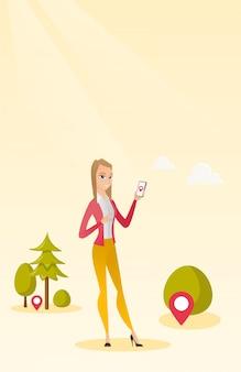 Кавказская женщина играет в игру действия на смартфоне