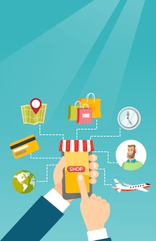 Руки держат телефон, связанный с покупками икон