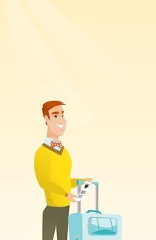 Кавказский бизнесмен, показывая багажную бирку.