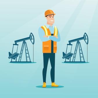 Уверенно нефтяной рабочий векторные иллюстрации.