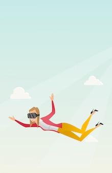 Деловая женщина в виртуальной гарнитуре