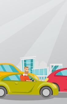 車の中で怒っている白人男性は交通渋滞で立ち往生しています。