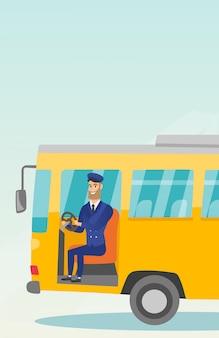 ステアリングホイールに座っている白人のバスの運転手。