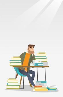 本の山でテーブルに座っている学生。