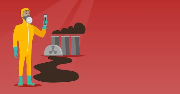 Человек в радиационно-защитном костюме с пробиркой.