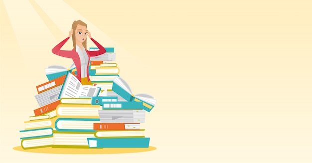 本の巨大な山に座っている学生。