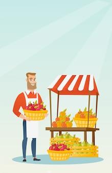 Уличный продавец с фруктами и овощами.