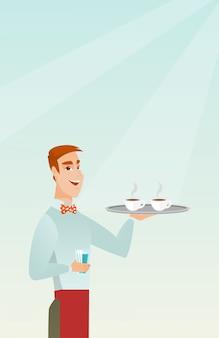 コーヒーまたは紅茶のカップとトレイを保持しているウェイター。