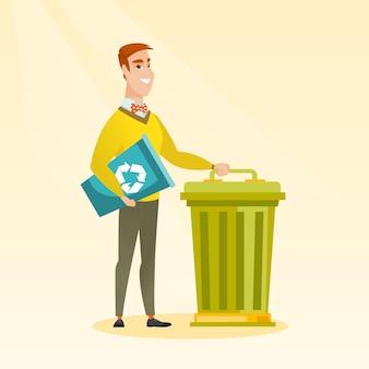 ごみ箱とゴミ箱を持つ男。