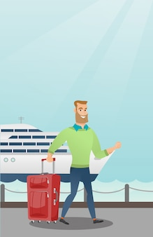 Пассажир идет к круизному лайнеру с чемоданом
